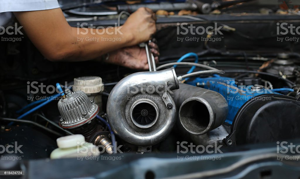 Turbo charger on car engine stock photo
