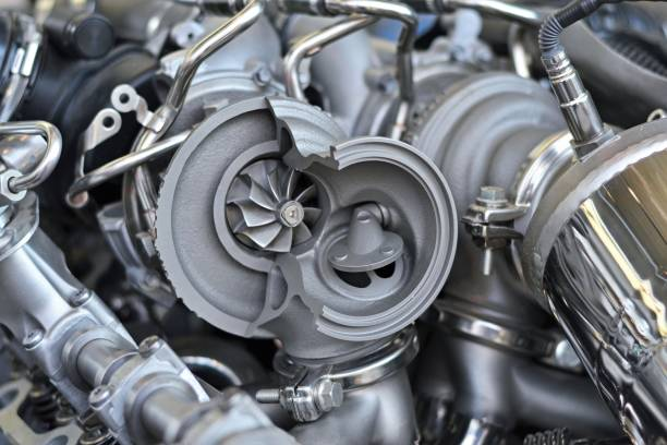 turbocompresor en un corte transversal - compresor motor fotografías e imágenes de stock