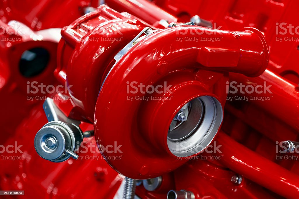 Turbocharger of red engine stock photo