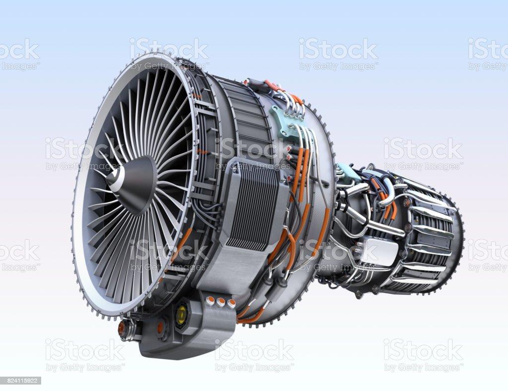 Turbofan jet engine isolated on light blue  background stock photo