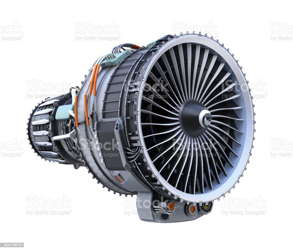 Turbofan jet engine isolated on white  background stock photo