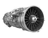 Turbofan Jet Engine isolated on white background. 3D render
