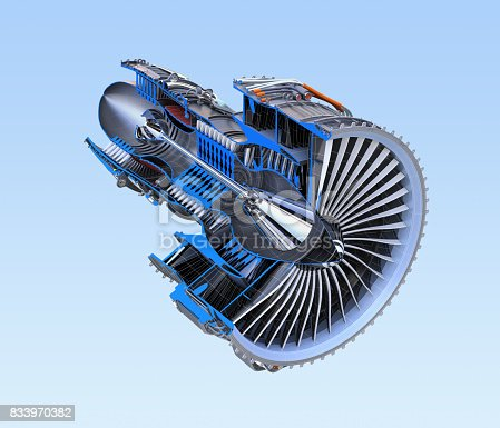 istock Turbofan jet engine's cross section frame isolated on blue background 833970382