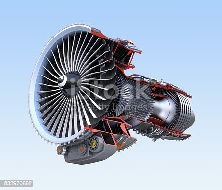 istock Turbofan jet engine's cross section frame isolated on blue background 833970662