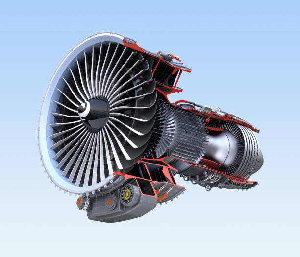 Turbofan jet engine's cross section frame isolated on blue background stock photo