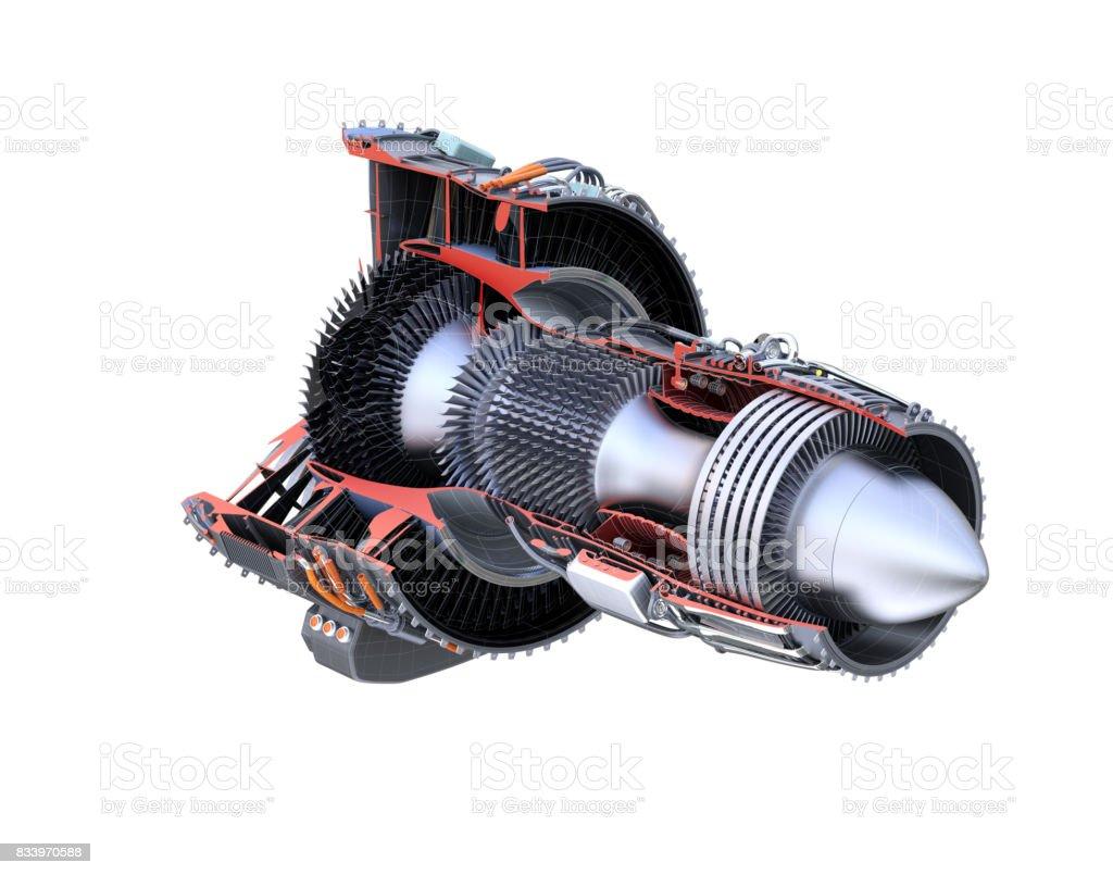 Turbofan jet engine's cross section frame isolated on white background stock photo