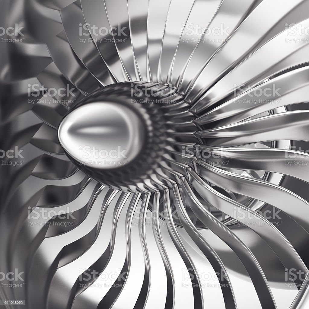 Turbo-jet engine of the plane, close up. 3d rendering stock photo