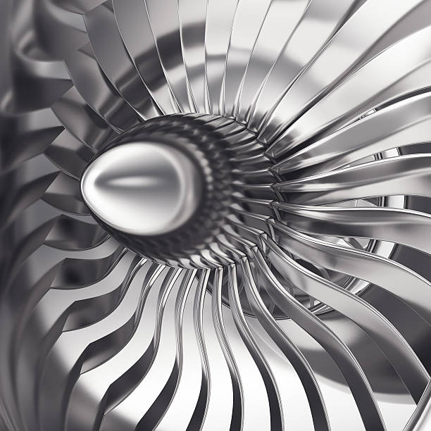 Turbo-jet engine of the plane, close up. 3d rendering - Photo