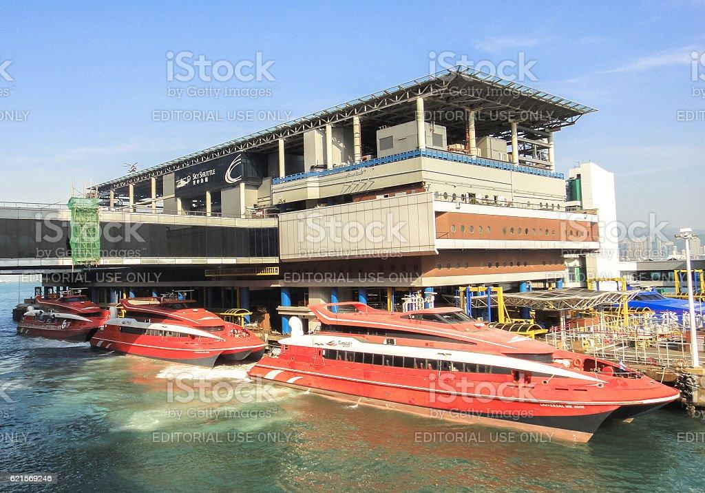 TurboJet high speed ferries at pier in Hong Kong photo libre de droits