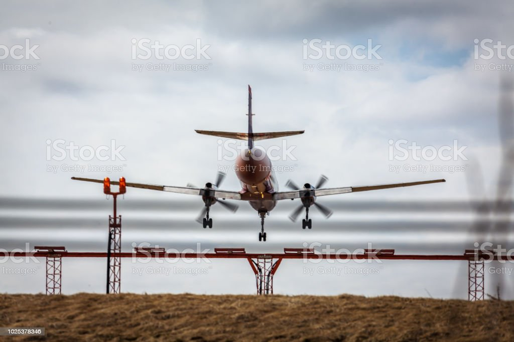 Turboprop airplane coming in for landing.