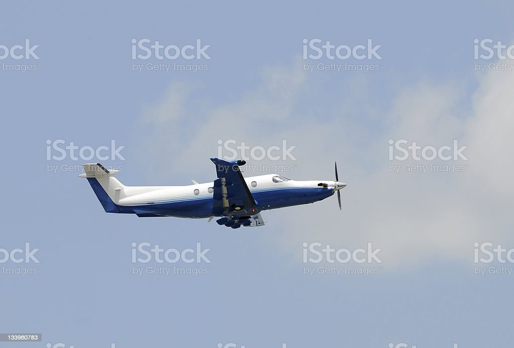 Turboprop airplane used for business travel stock photo