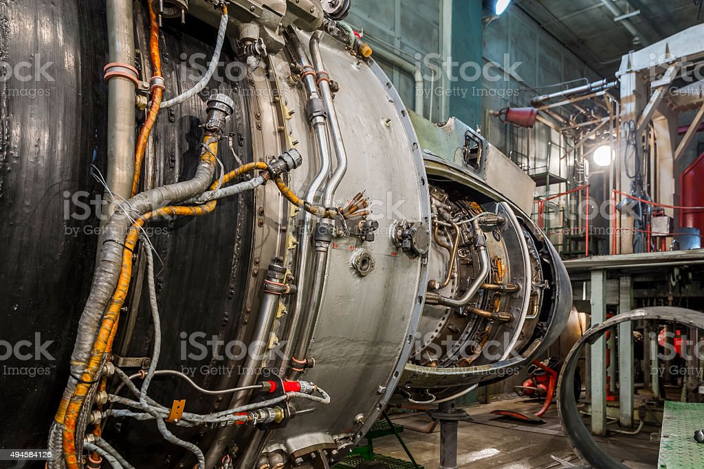 Turboshaft engine in aviation hangar stock photo