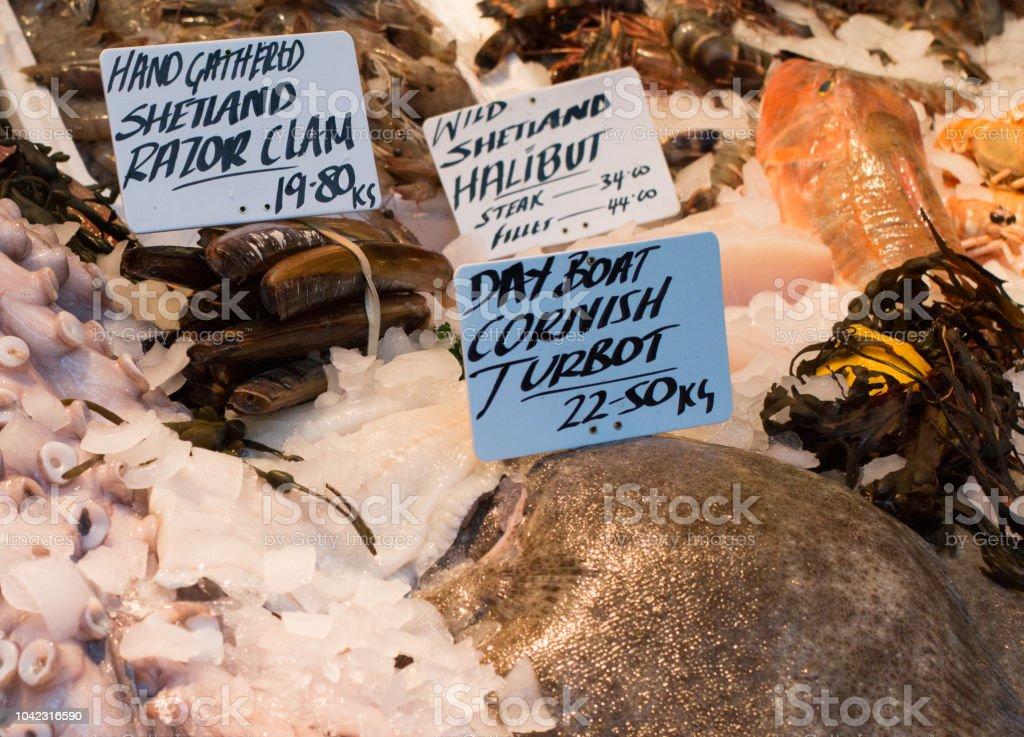 Turbot in Borough Market, London stock photo