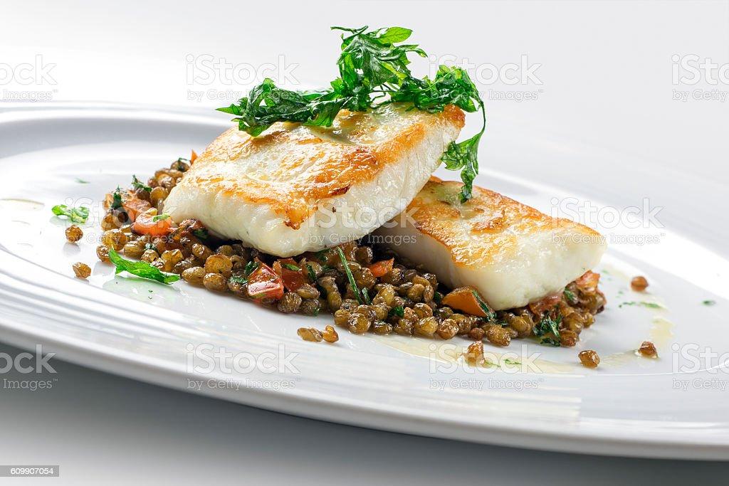 Turbot with crispy lentil Zollino stock photo