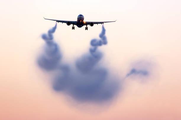 視覺化在飛機後面的湍流尾跡 - 亂流 個照片及圖片檔