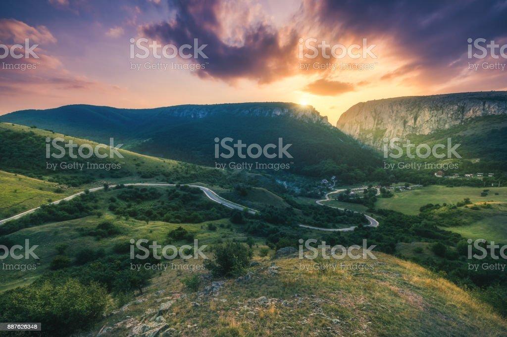 Turda Gorge (Cheile Turzii) panorama at sunset, natural reserve, Transylvania, Romania stock photo