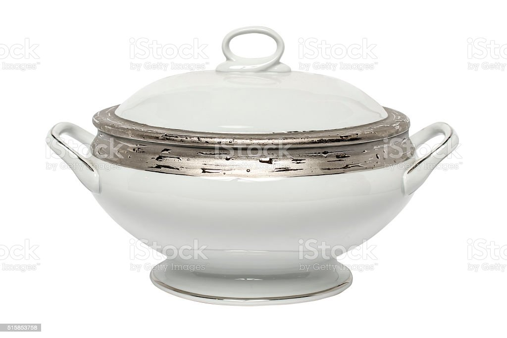 tureen isolated on white stock photo