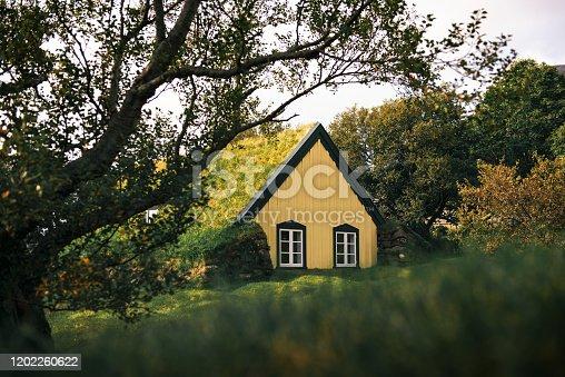 Historic turf Church Hofskirkja in the small icelandic village of Hof, Iceland