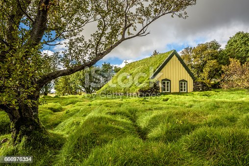Turf Church in small icelandic village of Hof, Skaftafell Iceland