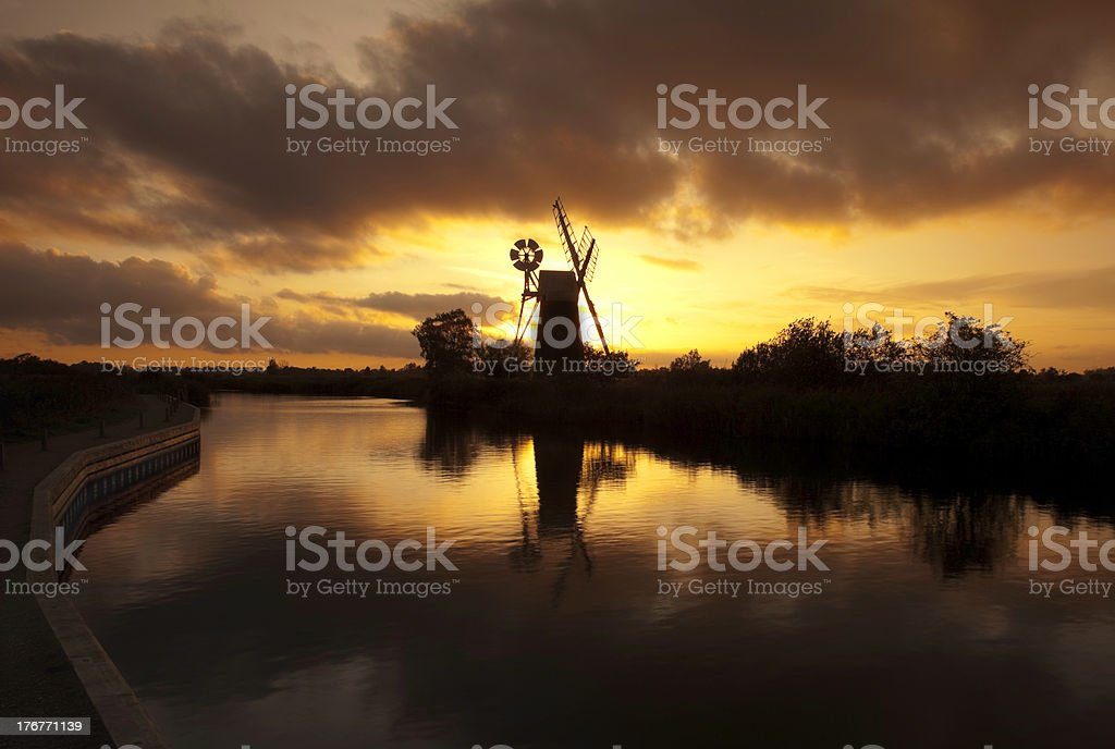 Turf fen mill, Norfolk Broads royalty-free stock photo
