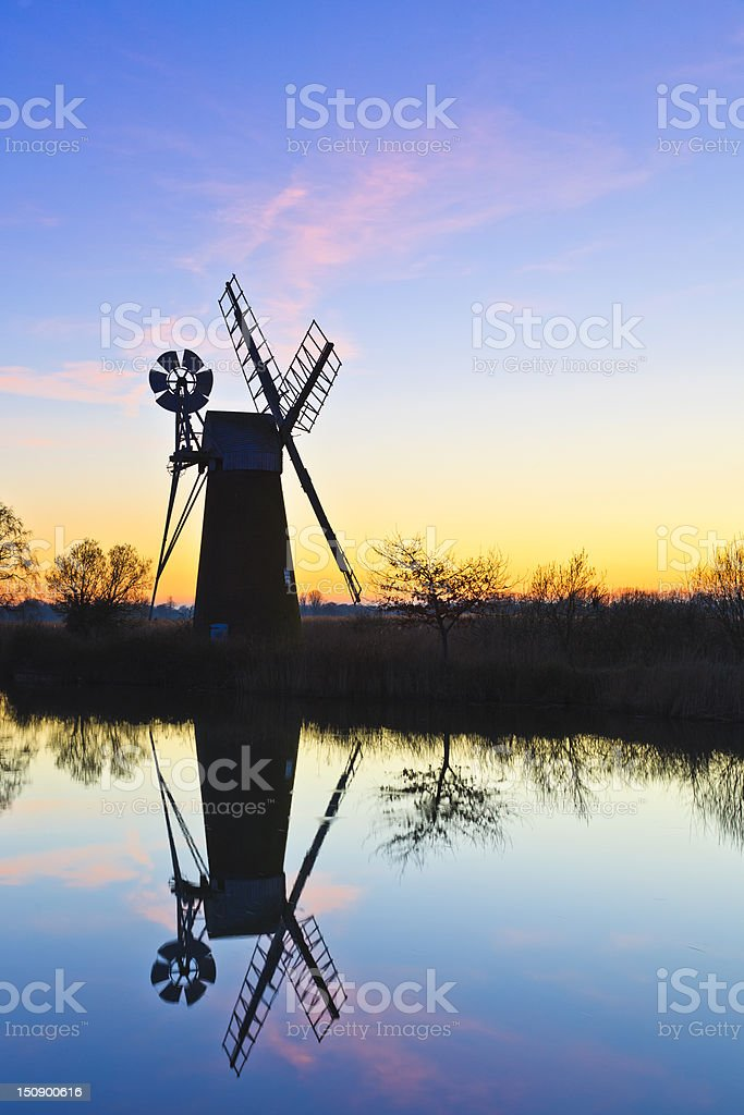 Turf Fen Sunset stock photo