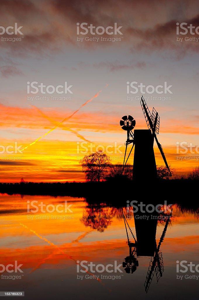Turf fen wind pump at sunset stock photo