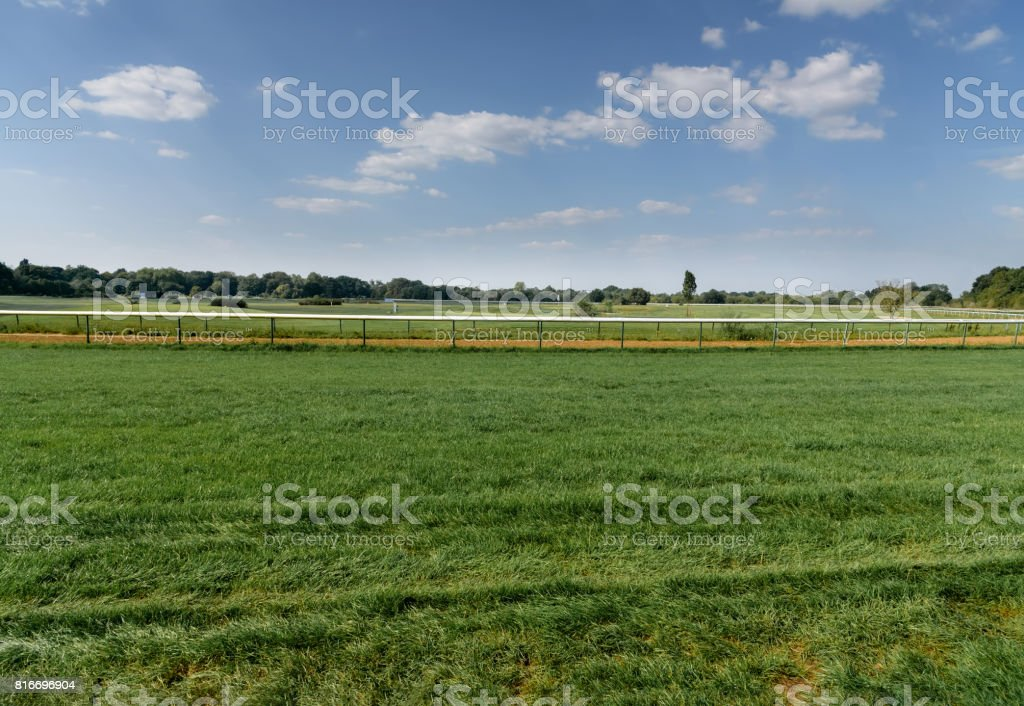 Turf hippodrome in Germany, Magdeburg. Green grass field. View from below stock photo