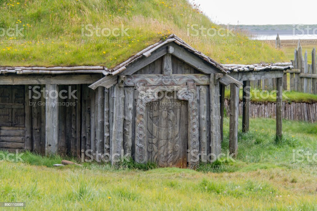 Turf house in Iceland stock photo