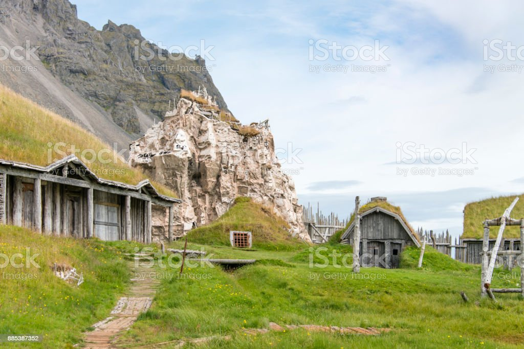 Turf houses in Iceland stock photo