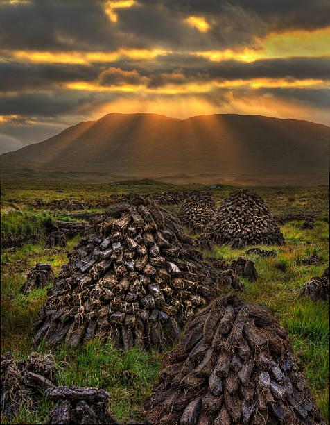 Turf Stacks, Connemara stock photo