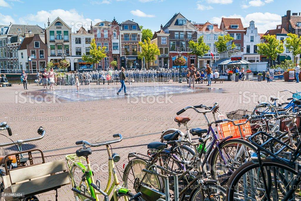 Turfmarkt and Beestenmarkt square in Leiden, Netherlands stock photo