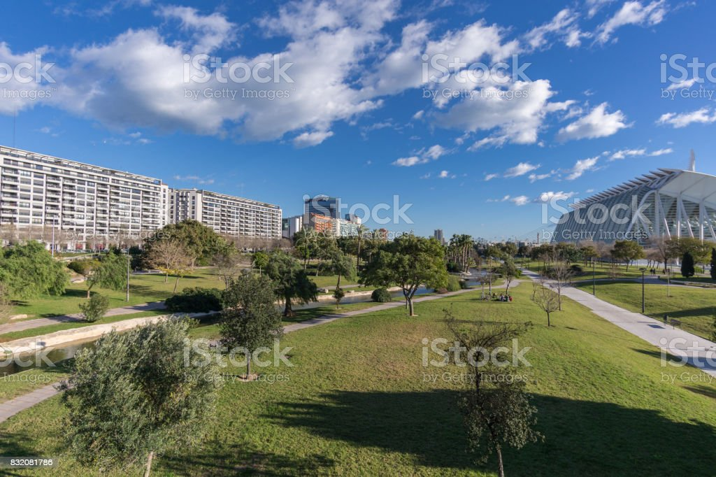 Turia River gardens Jardin del , leisure and sport area, Valencia, Spain stock photo