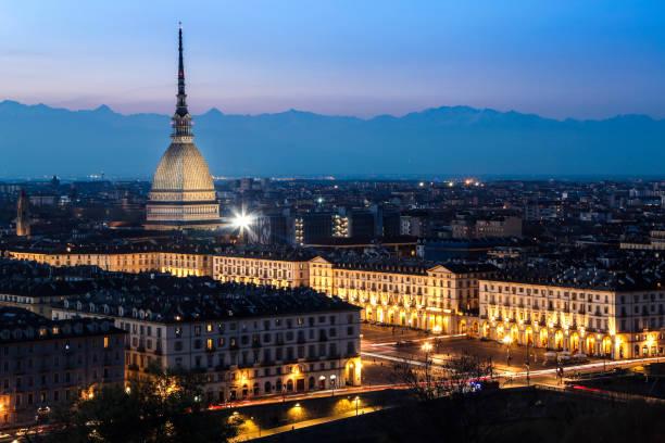 Turin at night stock photo