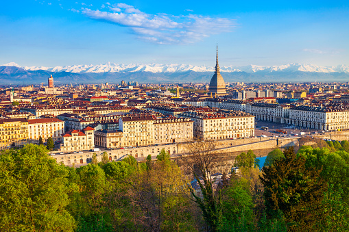 Turin city aerial vew, northern Italy