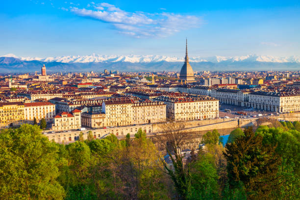 Turin city aerial vew, northern Italy stock photo