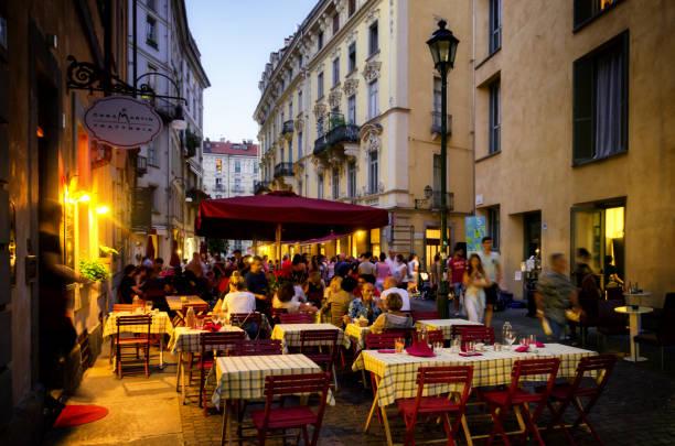 Turin, evening at the Quadrilatero stock photo