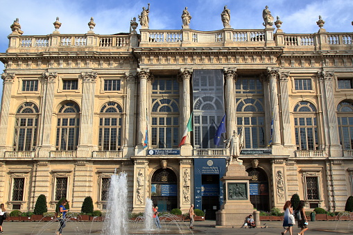 Turin: facade of madame palace seen from Piazza Castello