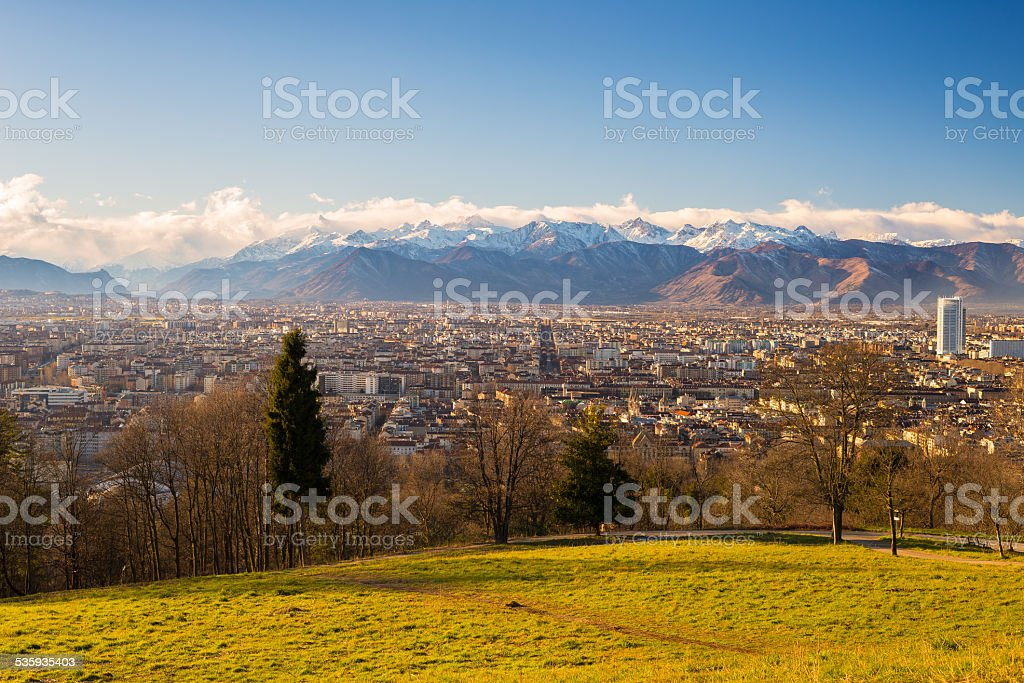 Turin from above, different perspective stock photo