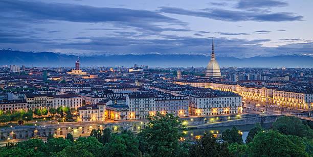 Turin (Torino), high definition panorama at twilight stock photo