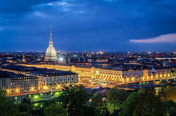 Turin (Torino), high definition panorama with Mole Antonelliana at twilight stock photo