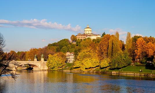 Turin in autumn city center, Valentino Park, Monte dei Cappuccini