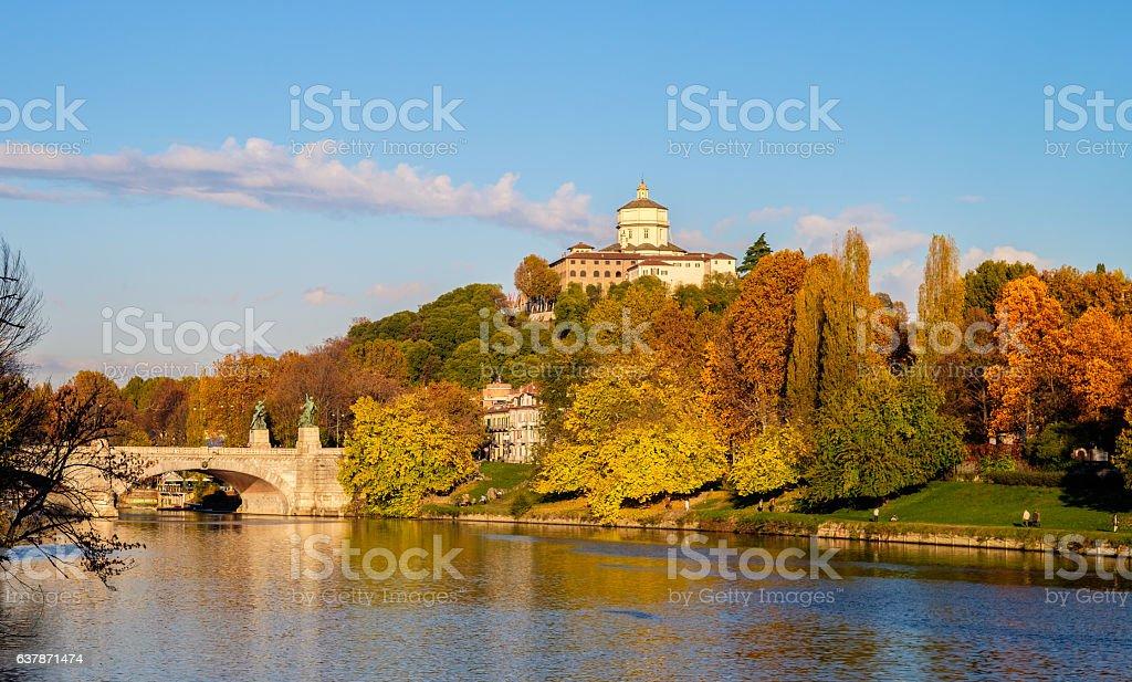 Turin in autumn city center, Valentino Park, Monte dei Cappuccini stock photo