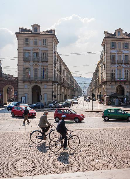 Turin, Italy, Piazza Castello and Via Po - foto stock