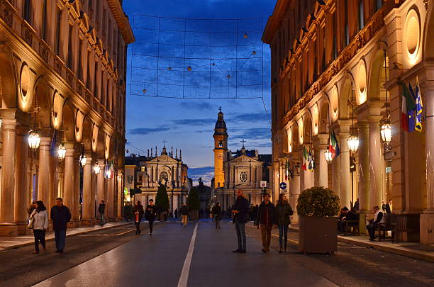 Turin Italy street at night stock photo