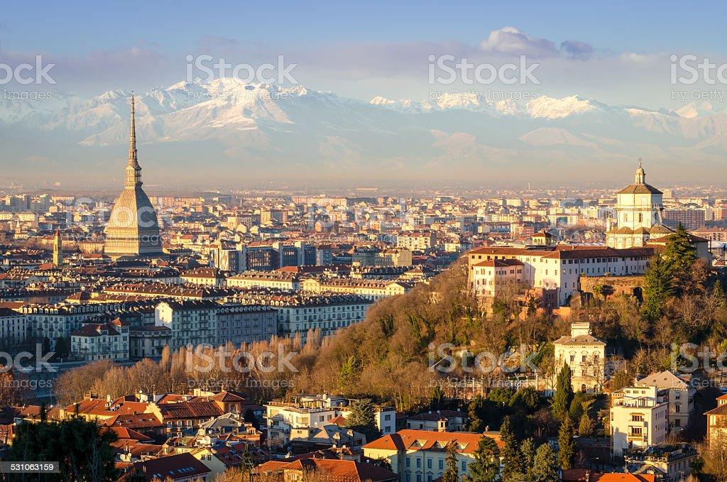 Turin (Torino), landscape with Mole Antonelliana and Alps stock photo