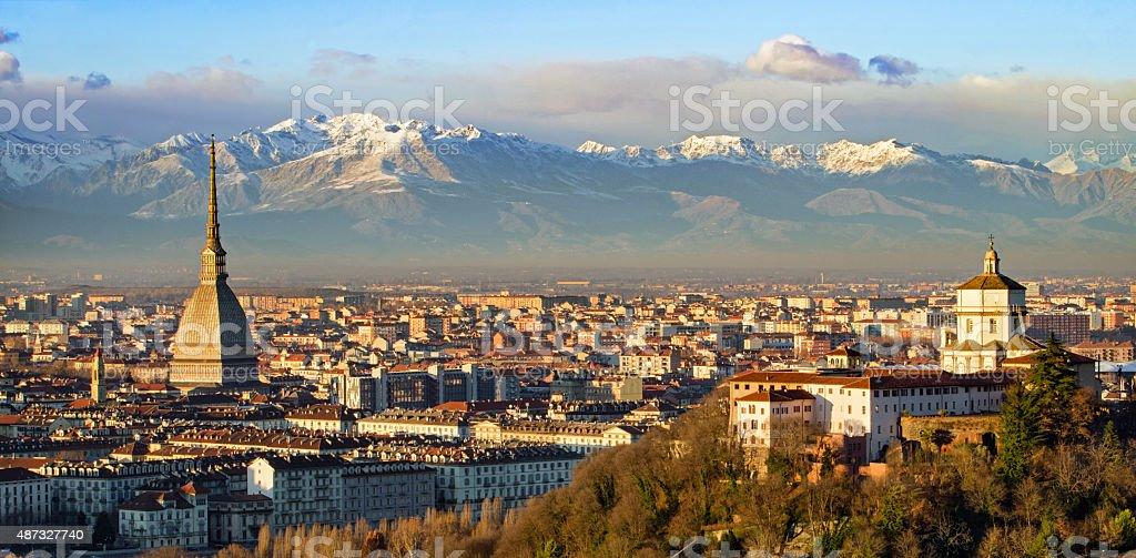 Turin (Torino), Mole Antonelliana and Alps stock photo