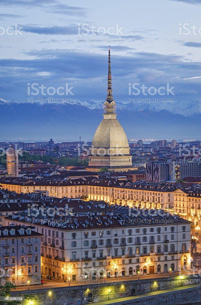 Turin (Torino), Mole Antonelliana and Piazza Vittorio, twilight stock photo