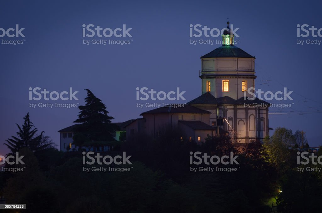 Turin Monte dei Cappuccini at night royalty-free stock photo