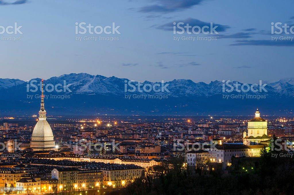 Turin (Torino), night landscape with Alps stock photo