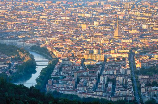 Turin (Torino) panorama at sunrise with Mole Antonelliana